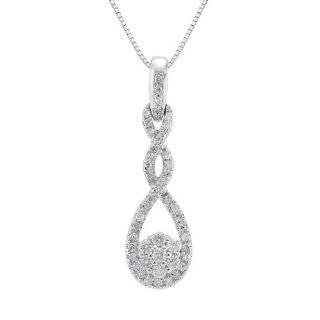 10k White Gold Clover Diamond Pendant (1/4 cttw, I J Color