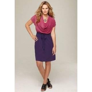 Avenue Plus Size Drape Neck Colorblock Dress