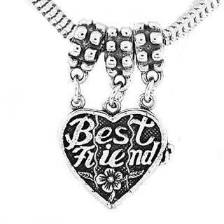 Silver Best Friend Three Way Split Heart Dangle Bead Charm
