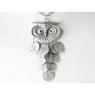 Dangle Coin Body Big Eyed Owl Bird Metallic Alloy Tone Costume Pendant