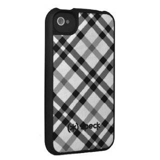 iPhone 4 SPECK HARD COVER fitted B/W PLAID FABRIC BACKED PROTECTION