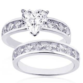 1 Ct Heart Shaped Diamond Wedding Rings Set G SI2 GIA