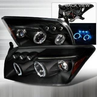 06 07 08 09 Dodge Caliber Halo Projector Headlights   Black (Pair)