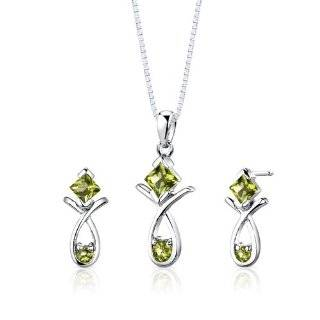 Sterling Silver Oval Peridot and Diamond Ring, Pendant, Earring Box