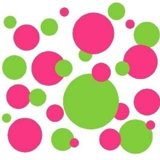 Set of 130 Dark Pink and Lime Green Polka Dots Wall Graphic Vinyl