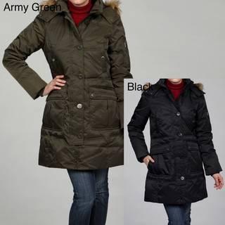London Fog Womens Faux fur Down Hooded Coat