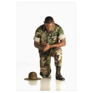 A Military Man Praying On One Knee Poster