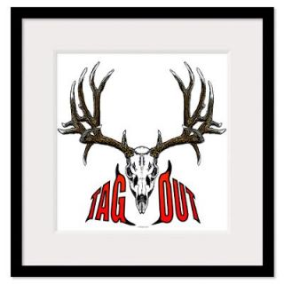 Mule deer skull,Tag out Framed Print