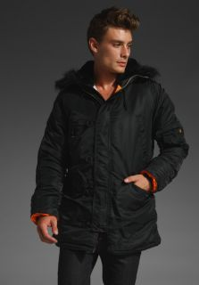 ALPHA INDUSTRIES Slim Fit N3B Nylon Blend Jacket in Black