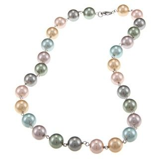 La Preciosa Sterling Silver Multi colored 10 mm Shell Pearl Necklace