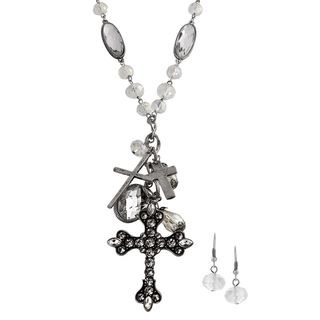 Journee Collection Silvertone Rhinestone Cross Jewelry Set