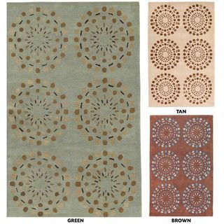 Hand tufted Contemporary Brown Circles Beauty New Zealand Wool