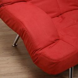 Red Microsuede Sofa Bed