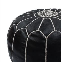 Handmade Casual Living Black Leather Moroccan Ottoman Pouf