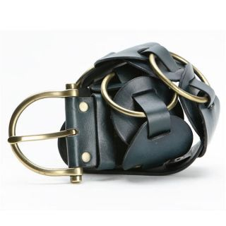 Linea Pelle Womens Leather and Brass Ladder Belt