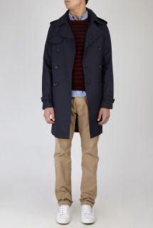 Navy Cotton Cropped Trench Coat by A.P.C.   Navy   Buy Coats Online