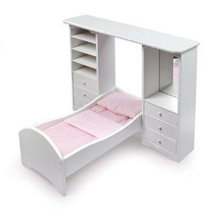 Doll Bed with Pier Cabinets and Bedding ~ Badger Basket