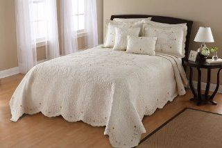 Leigh 100 Percent Cotton Fabric and Fill, Embroidered Bedspread