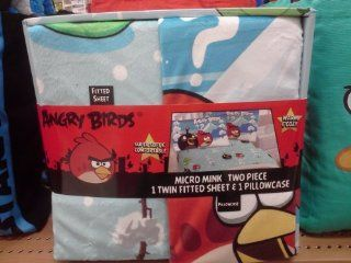 : Angry Birds Micro Mink Fitted Sheet and Pillow Case: Home & Kitchen