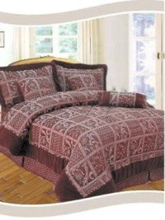com   New Elegant Quilt Pattern King Size Jacquard Purple 7 Piece Bed