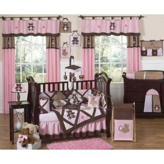 Brown Teddy Bear Baby Girls Bedding 9pc Crib Set by Sweet Jojo Designs