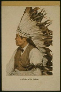 Photo: A modern Ute Indian, War Bonnet, Headdress