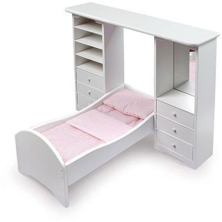 Badger Basket Co. White and Pink Pier Cabinet Doll Bed