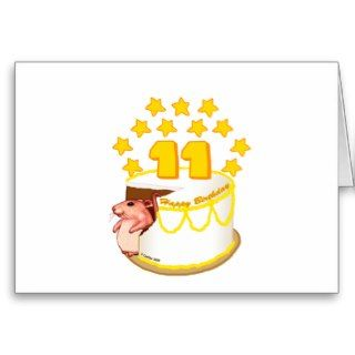 11 Year Old Birthday Cake Mouse Greeting Card