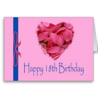 Happy 18th Birthday, pink floral heart Card