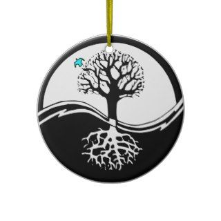 Yin Yang Tree Of Life Black & White Christmas Ornament