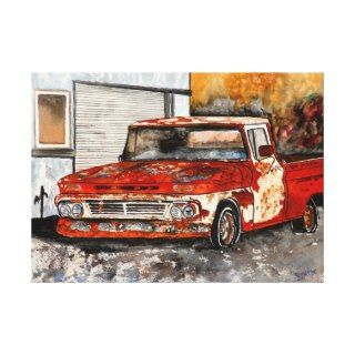Red chevy chevrolet truck rusted antique canvas prints