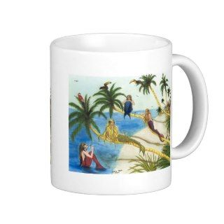 Mermaids Toucans Flamingo Palm Trees Art Coffee Mug