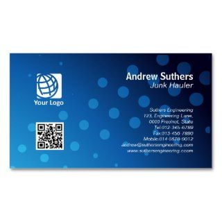 Junk Hauler Business Card Blue Dots