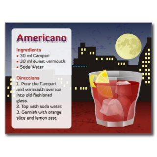 Americano Recipe Card Postcards