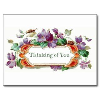 Retro Style Thinking of You Vintage Floral Violets Postcards