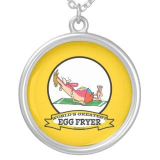 WORLDS GREATEST EGG FRYER SUNBURN MAN CARTOON NECKLACE