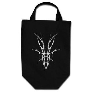 Deer Skull Tribal Tattoo   white on black Tote Bag