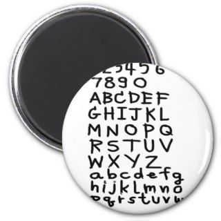 ABC text and number Refrigerator Magnets