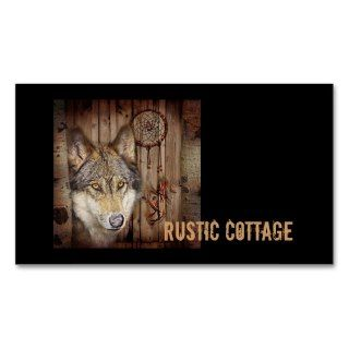 rustic native indian dream catcher wolf art business cards