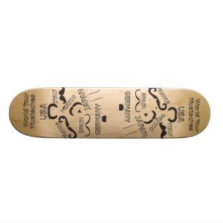 Funny Mustaches World Tour hipster mustache styles Custom Skateboard