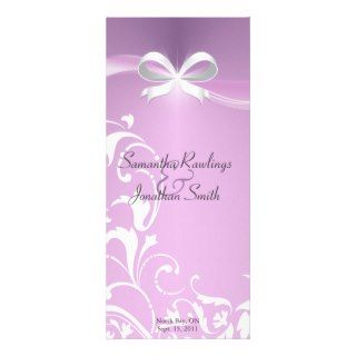 Wedding Program   Classy Purple Satin Ribbon Rack Card