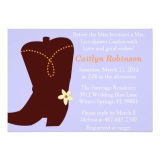Cute Cowgirl Boot Bridal Shower Invitation