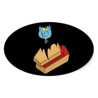 funny vampire bat with coffin cartoon stickers