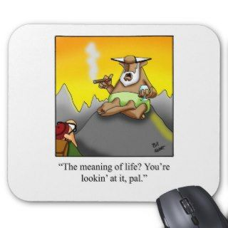 Funny Cigar Wise Man Cartoon Gifts! Mouse Mats