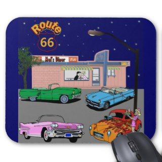 1950s Diner Route 66 and Vintage Cars Mousepads