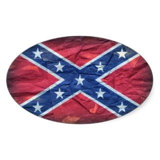 Grunge Dirty Redneck Confederate Flag Oval Sticker