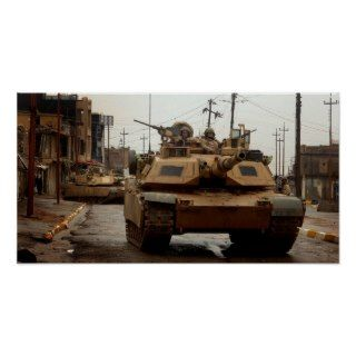 M1 Abrams tanks in the streets of Tall Afar, Iraq Poster