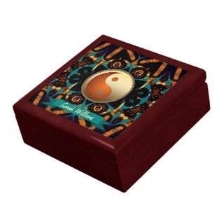 Teal Tribal Batik Gold Yin Yang Gift Box