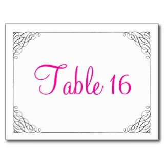 White Swirls Wedding Reception Table Numbers Postcards