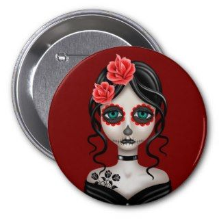 Sad Day of the Dead Girl on Red Pinback Buttons